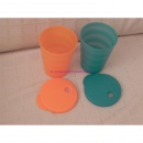Tupperware Junge Welle Trinkhalm Becher 330 ml - orange / gr�n
