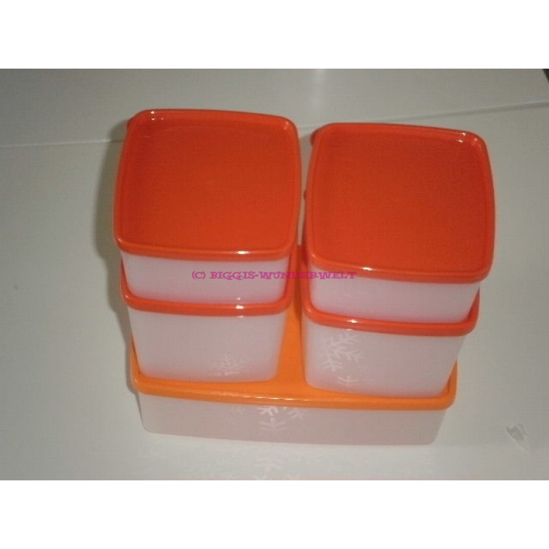 Tupperware gefrier set 5 teilig orange rot biggis for Gefrier