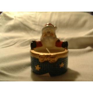 Teelicht - Weihnachtsmann - blau