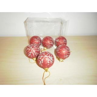 Weihnachtsbaum - Kugelset (6) mit silber glitzernen Schneeflocken - Rot