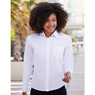 Fruit of the Loom Lady-Fit Long Sleeve Poplin Blouse (F702)